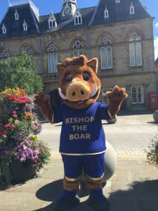 Bishop the Boar outside of Bishop Auckland Town Hall