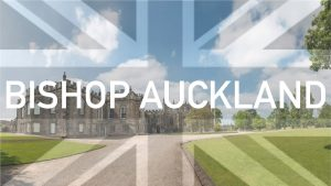 Bishop Auckland: A view of Auckland Castle grounds with a greyscale Union Jack flag overlayed
