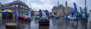 A panoramic photograph of the EV Roadshow display in the Market Place