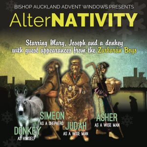 AlterNATIVITY Logo, starring Mary, Joseph and a donkey with guest appearances from the Zurburan Boys