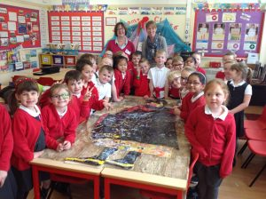Group of school children from Cockton Hill Infants School with Laura Brenchley, making their AlterNATIVITY display